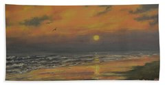 Hand Towel featuring the painting Ocean Sundown by Kathleen McDermott