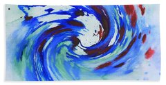 Ocean Wave Watercolor Hand Towel