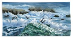 Bath Towel featuring the painting Ocean Waves And Pelicans by Judy Filarecki