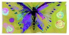 Ochre  Butterfly And Twirls Bath Towel