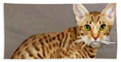Hand Towel featuring the painting Ocicat by Marian Cates
