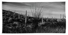 Ocotillo And Saguaros Hand Towel