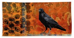 Hand Towel featuring the painting October Raven by Nancy Merkle