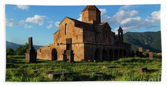 Odzun Church And Puffy Clouds At Evening, Armenia Hand Towel