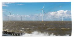 Offshore Windmill Park Bath Towel by Hans Engbers