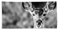 Oh, Deer, Black And White Bath Towel
