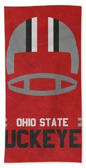 Ohio State Buckeyes Vintage Football Art Hand Towel by Joe Hamilton