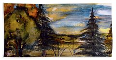 Hand Towel featuring the painting Ohio Sunset by Mindy Newman