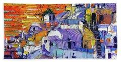 Oia Santorini Magic Light Mini Cityscape 09 - Modern Impressionist Palette Knife Oil Painting Hand Towel
