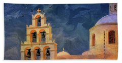 Hand Towel featuring the photograph Oia Sunset Imagined by Lois Bryan