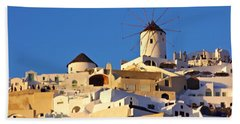 Bath Towel featuring the photograph Oia Windmill by Jeremy Hayden