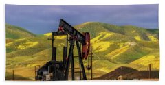 Bath Towel featuring the photograph Oil Field And Temblor Hills by Marc Crumpler
