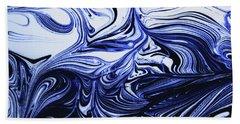 Oil Swirl Blue Droplets Abstract I Bath Towel