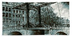 Old Amsterdam Bridge In Dutch Blue Water Colors Hand Towel