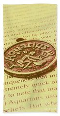 Old Aquarius Astrology Hand Towel
