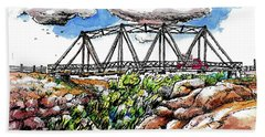 Bath Towel featuring the painting Old Arizona Bridge by Terry Banderas