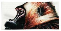 Old Baboon Animal Art Drawing Bath Towel