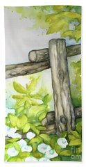 Bath Towel featuring the painting Old Backyard Fence by Inese Poga