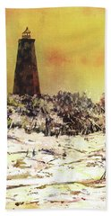 Bath Towel featuring the painting Old Baldy Lighthouse- North Carolina by Ryan Fox