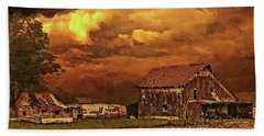 Hand Towel featuring the digital art Old Barn At Sunset by PixBreak Art