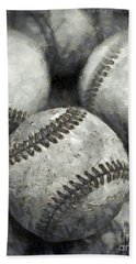 Old Baseballs Pencil Hand Towel by Edward Fielding