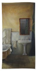 Hand Towel featuring the painting Old Bathtub by Diane DiMaria