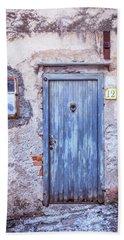 Old Blue Italian Door Bath Towel