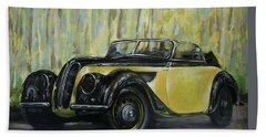 Old Bmw Yellow Car Painted On Leatheder, Vintage 1938 Hand Towel by Vali Irina Ciobanu