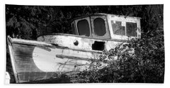 Old Boat Covered In Vines Bath Towel