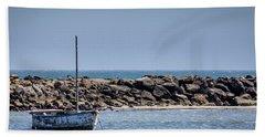 Old Boat - Half Moon Bay Bath Towel