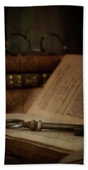 Old Book With Key Hand Towel