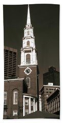 Old Boston Photo Art - Park Street Church Bath Towel by Art America Gallery Peter Potter