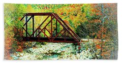 Old Bridge - New Hampshire Fall Foliage Hand Towel by Joseph Hendrix