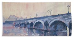 Hand Towel featuring the painting Old Bridge Of Maastricht In Warm Diffuse Autumn Light by Nop Briex