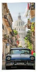 Old Car And El Capitolio Bath Towel