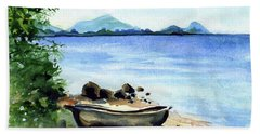 Bath Towel featuring the painting Old Carved Boat At Lake Malawi by Dora Hathazi Mendes
