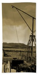 Old Crane And Shed Utah Countryside In Sepia Bath Towel