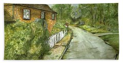 Bath Towel featuring the painting Old English Cottage by Teresa White