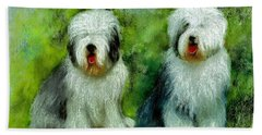 Hand Towel featuring the painting Old English Sheepdog by Ryn Shell