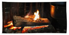 Old Fashioned Fireplace Hand Towel