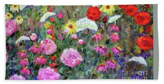 Bath Towel featuring the painting Old Fashioned Garden by Claire Bull