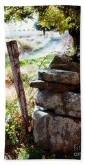Hand Towel featuring the photograph Old Fence Post Orchard by Janine Riley
