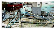 Old Fishing Boats Hand Towel by Stephanie Moore
