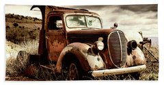 Old Ford Truck In Desert Hand Towel