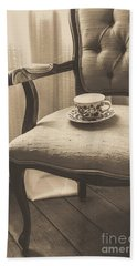 Old Friend China Tea Up On Chair Bath Towel by Edward Fielding