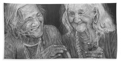 Old Friends, Smokin' And Jokin' Hand Towel by Quwatha Valentine