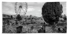 Old Glenarm Cemetery And Big Wheel Bw Bath Towel by RicardMN Photography