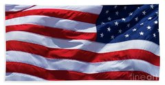 Bath Towel featuring the photograph Stitches Old Glory American Flag Art by Reid Callaway