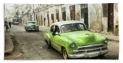 Old Green Car Hand Towel