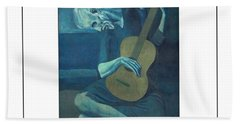 Old Guitarist Bath Towel